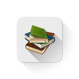 books icon With long shadow over app button
