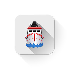 boat icon With long shadow over app button