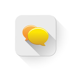 chat icon With long shadow over app button