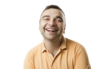 cheerful unshaven man happy laughing