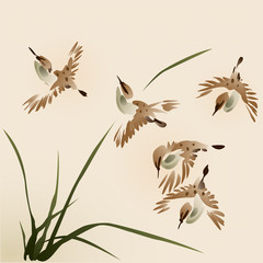 Oriental style painting, sparrows