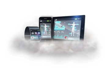 Futuristic black wrist watch with tablet and smartphone on cloud