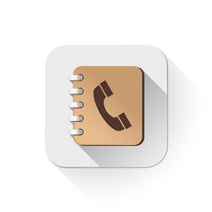 address book icon With long shadow over app button