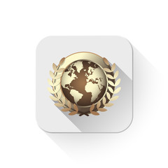 world award icon With long shadow over app button