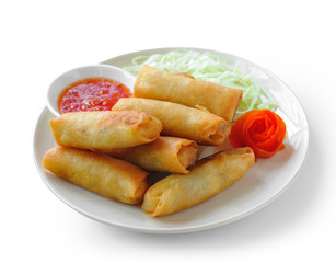 Fried Chinese Traditional Spring rolls food on white background