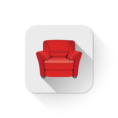 leather armchair With long shadow over app button