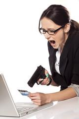 Desperate business woman shoot a gun on her credit card