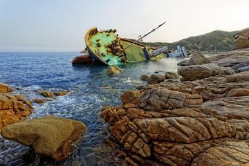 shipwreck and seascape sunset