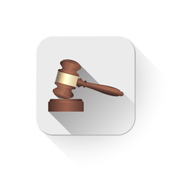 A wooden judge gavel and soundboard With long shadow over app bu