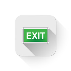 exit sign With long shadow over app button