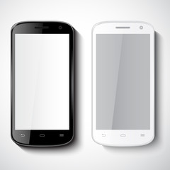 Vector black and white smart phones