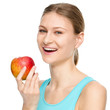 Young happy girl with apple