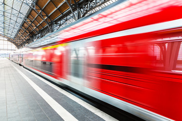 High speed train at station platform