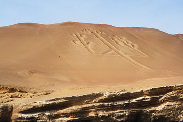 Ancient large-scale geoglyph Candelabrum figure in Paracas natio