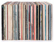 Row of vinyl records, isolated on white - 65598160