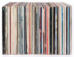 Row of vinyl records, isolated on white