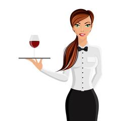Woman waiter portrait