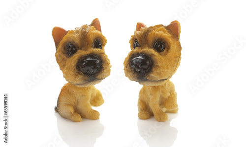two small dog doll on white background