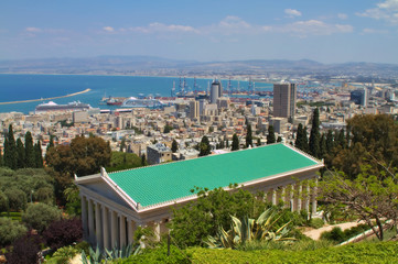 Haifa city view from the Bahai gardens, Israel