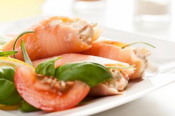 Smoked salmon roll with vegetable salad