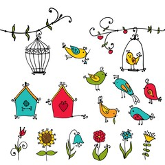 set of cute  birds, tree and and bird's nesting boxes
