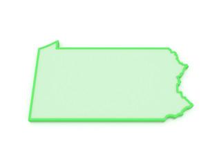 Three-dimensional map of Pennsylvania. USA.