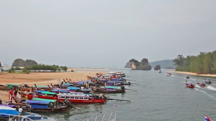 Boats in the gulf in tourist port, the province Krabi, Thailand