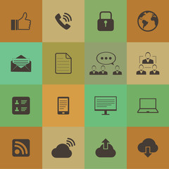 Retro style Internet icons set vector set.