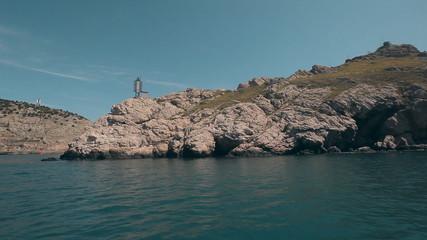 Beautiful Mediterranean Landscape with a Yacht Crimea
