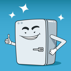 Vector illustration of vintage fridge cartoon character
