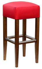 Red upholstered barstool