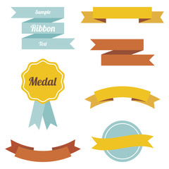 Set of vector flat ribbons and labels