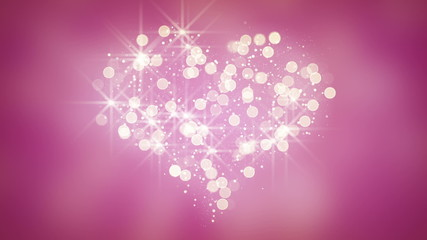 glares and particles heart shape loop background