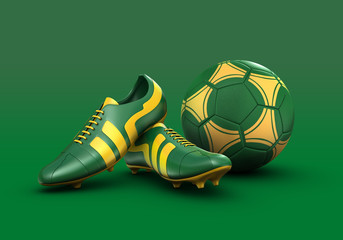 3D Soccer ball and football boots