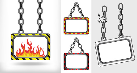 fire flames on chain hanged board collection vector