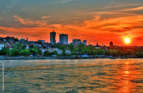 Fototapeta Beautiful sunset over Warsaw.HDR-high dynamic range