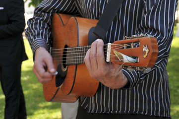Acoustic classical guitar with strings