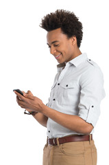 African Man Using Cellphone