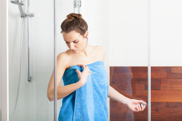 Woman during shower