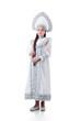 Cute girl posing in luxurious dress with kokoshnik