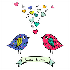 Two colorful birds, hand-drawn with hearts and notes
