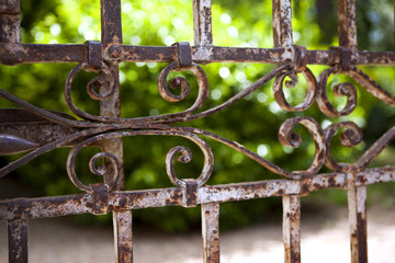 Old rusty gate in a park