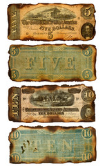Old, Burned Confederate Five and Ten Dollar Bills