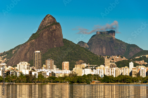 Beautiful view of Rio de Janeiro with the Lake and Mountains