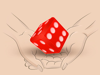 lucky red dice hold two human hands across vector