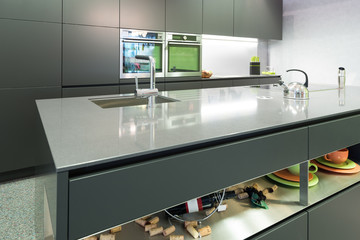anthracite modern kitchen with oven and steamer with island