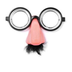fake short-sighted glasses, nose and moustache