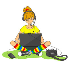 Modern girl and various gadgets