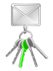 message icon on key ring with green one isolated vector