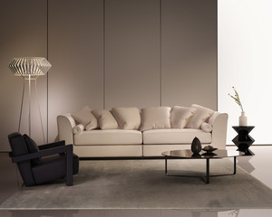 Elegant contemporary fresh interior with beige sofa